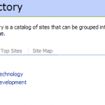 sharepoint screenshot: Site Directory - Categories. Division * Information Technology * Research & Development * Sales * Finance.  Region *Local * National * International